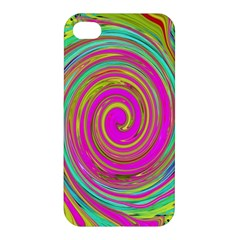 Groovy Abstract Pink, Turquoise And Yellow Swirl Apple Iphone 4/4s Premium Hardshell Case by myrubiogarden