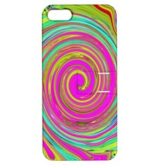 Groovy Abstract Pink, Turquoise And Yellow Swirl Apple Iphone 5 Hardshell Case With Stand by myrubiogarden