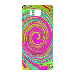 Groovy Abstract Pink, Turquoise And Yellow Swirl Samsung Galaxy Alpha Hardshell Back Case by myrubiogarden