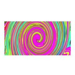 Groovy Abstract Pink, Turquoise And Yellow Swirl Satin Wrap by myrubiogarden
