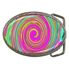 Groovy Abstract Pink, Turquoise And Yellow Swirl Belt Buckles by myrubiogarden