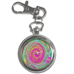Groovy Abstract Pink, Turquoise And Yellow Swirl Key Chain Watches