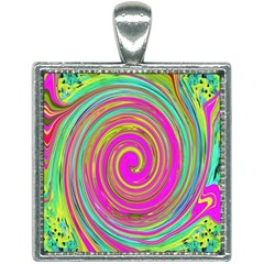 Groovy Abstract Pink, Turquoise And Yellow Swirl Square Necklace