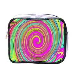 Groovy Abstract Pink, Turquoise And Yellow Swirl Mini Toiletries Bag (one Side) by myrubiogarden