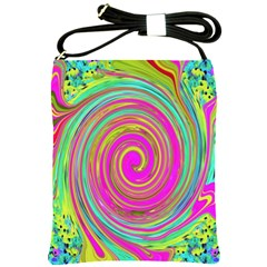 Groovy Abstract Pink, Turquoise And Yellow Swirl Shoulder Sling Bag by myrubiogarden