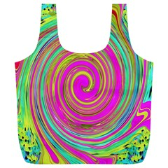 Groovy Abstract Pink, Turquoise And Yellow Swirl Full Print Recycle Bag (xl) by myrubiogarden