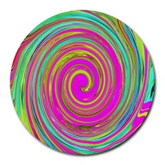 Groovy Abstract Pink, Turquoise And Yellow Swirl Round Mousepads by myrubiogarden
