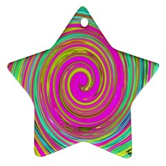 Groovy Abstract Pink, Turquoise And Yellow Swirl Ornament (star)
