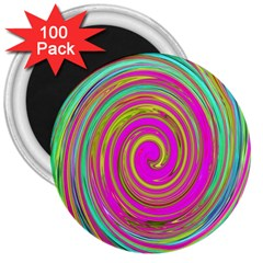 Groovy Abstract Pink, Turquoise And Yellow Swirl 3  Magnets (100 Pack) by myrubiogarden