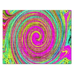 Groovy Abstract Pink, Turquoise And Yellow Swirl Rectangular Jigsaw Puzzl by myrubiogarden