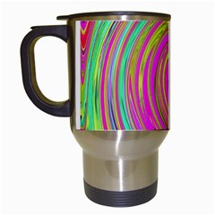 Groovy Abstract Pink, Turquoise And Yellow Swirl Travel Mugs (white)