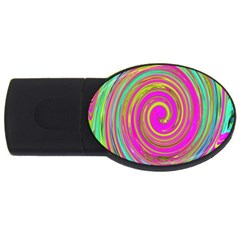 Groovy Abstract Pink, Turquoise And Yellow Swirl Usb Flash Drive Oval (4 Gb) by myrubiogarden