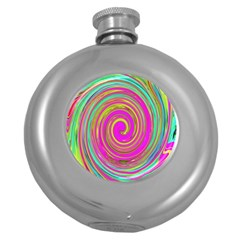 Groovy Abstract Pink, Turquoise And Yellow Swirl Round Hip Flask (5 Oz) by myrubiogarden