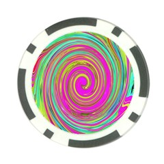 Groovy Abstract Pink, Turquoise And Yellow Swirl Poker Chip Card Guard by myrubiogarden