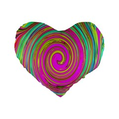 Groovy Abstract Pink, Turquoise And Yellow Swirl Standard 16  Premium Heart Shape Cushions by myrubiogarden