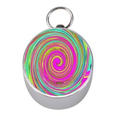 Groovy Abstract Pink, Turquoise And Yellow Swirl Mini Silver Compasses