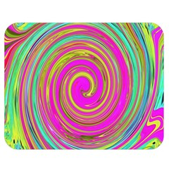 Groovy Abstract Pink, Turquoise And Yellow Swirl Double Sided Flano Blanket (medium)  by myrubiogarden