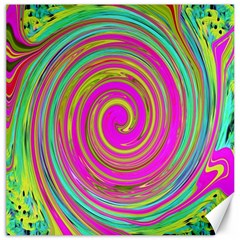 Groovy Abstract Pink, Turquoise And Yellow Swirl Canvas 16  X 16  by myrubiogarden