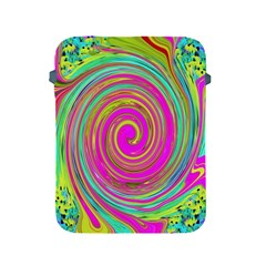 Groovy Abstract Pink, Turquoise And Yellow Swirl Apple Ipad 2/3/4 Protective Soft Cases by myrubiogarden