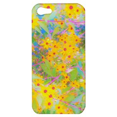 Pretty Yellow And Red Flowers With Turquoise Apple Iphone 5 Hardshell Case by myrubiogarden