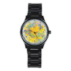 Pretty Yellow And Red Flowers With Turquoise Stainless Steel Round Watch