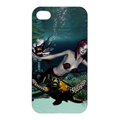 Wonderful Fmermaid With Turtle In The Deep Ocean Apple Iphone 4/4s Hardshell Case