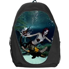 Wonderful Fmermaid With Turtle In The Deep Ocean Backpack Bag by FantasyWorld7