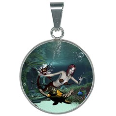 Wonderful Fmermaid With Turtle In The Deep Ocean 25mm Round Necklace