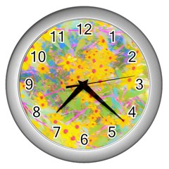 Pretty Yellow And Red Flowers With Turquoise Wall Clock (silver)
