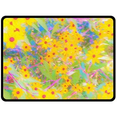 Pretty Yellow And Red Flowers With Turquoise Fleece Blanket (large)
