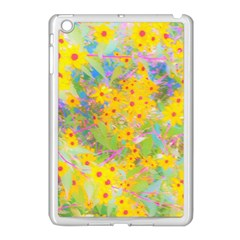 Pretty Yellow And Red Flowers With Turquoise Apple Ipad Mini Case (white)