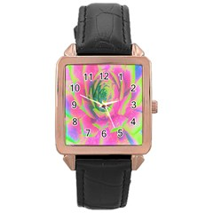 Lime Green And Pink Succulent Sedum Rosette Rose Gold Leather Watch  by myrubiogarden