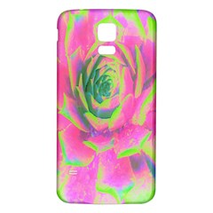Lime Green And Pink Succulent Sedum Rosette Samsung Galaxy S5 Back Case (white) by myrubiogarden