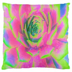 Lime Green And Pink Succulent Sedum Rosette Large Flano Cushion Case (one Side) by myrubiogarden