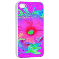 Psychedelic Pink And Red Hibiscus Flower Apple Iphone 4/4s Seamless Case (white) by myrubiogarden