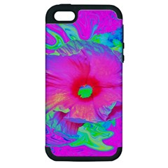 Psychedelic Pink And Red Hibiscus Flower Apple Iphone 5 Hardshell Case (pc+silicone) by myrubiogarden