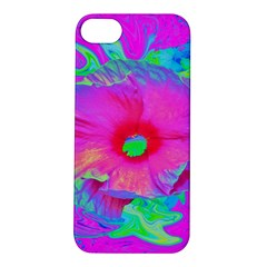 Psychedelic Pink And Red Hibiscus Flower Apple Iphone 5s/ Se Hardshell Case by myrubiogarden