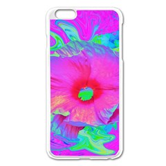 Psychedelic Pink And Red Hibiscus Flower Apple Iphone 6 Plus/6s Plus Enamel White Case by myrubiogarden