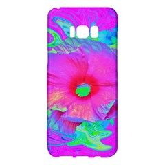 Psychedelic Pink And Red Hibiscus Flower Samsung Galaxy S8 Plus Hardshell Case  by myrubiogarden