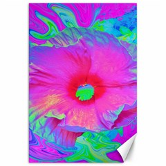 Psychedelic Pink And Red Hibiscus Flower Canvas 20  X 30  by myrubiogarden