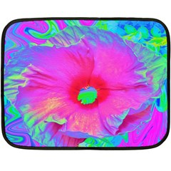 Psychedelic Pink And Red Hibiscus Flower Double Sided Fleece Blanket (mini)  by myrubiogarden