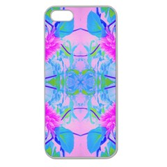 Pink And Purple Dahlia On Blue Pattern Apple Seamless Iphone 5 Case (clear) by myrubiogarden