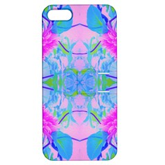 Pink And Purple Dahlia On Blue Pattern Apple Iphone 5 Hardshell Case With Stand