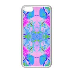 Pink And Purple Dahlia On Blue Pattern Apple Iphone 5c Seamless Case (white)