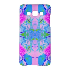 Pink And Purple Dahlia On Blue Pattern Samsung Galaxy A5 Hardshell Case  by myrubiogarden