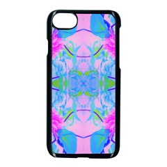 Pink And Purple Dahlia On Blue Pattern Apple Iphone 7 Seamless Case (black) by myrubiogarden