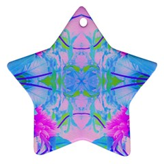 Pink And Purple Dahlia On Blue Pattern Ornament (star)