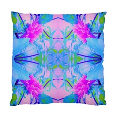 Pink And Purple Dahlia On Blue Pattern Standard Cushion Case (one Side) by myrubiogarden