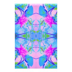 Pink And Purple Dahlia On Blue Pattern Shower Curtain 48  X 72  (small)