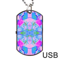 Pink And Purple Dahlia On Blue Pattern Dog Tag Usb Flash (one Side) by myrubiogarden
